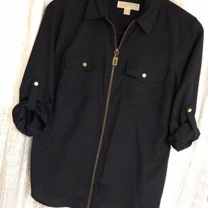 *MICHEAL KORS* Long Sleeve Zip Blouse Top Navy M